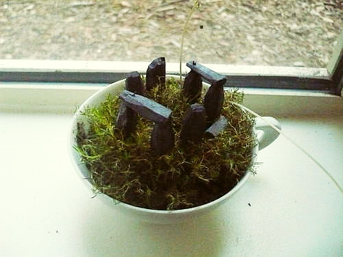 A white teacup filled with moss on top of which are some miniature replica megaliths in the style of the Stonehenge circle