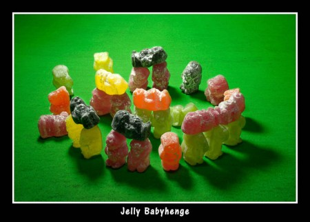 Jelly Babyhenge, photo and henge by Dave Dummet