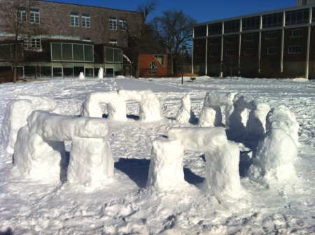 Snowhenge at Carleton College, photo by Erin Wilson, used with permission