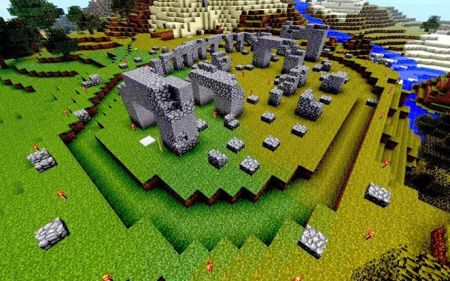 Stonehenge in Minecraft, on Snakeskin, made and imaged by James Brocklehurst