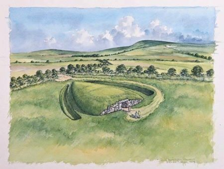 Artist's impression of what the finished Long Barrow will look like, (c) Peter Dunn