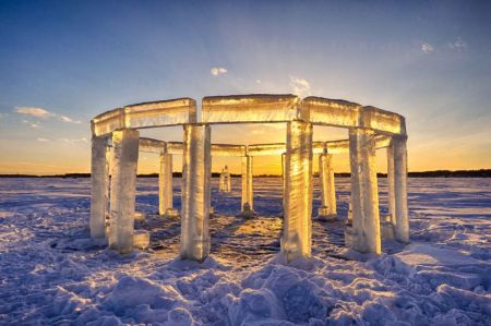 Rock Lake Icehenge, in Lake Mills, Wisconsin, USA