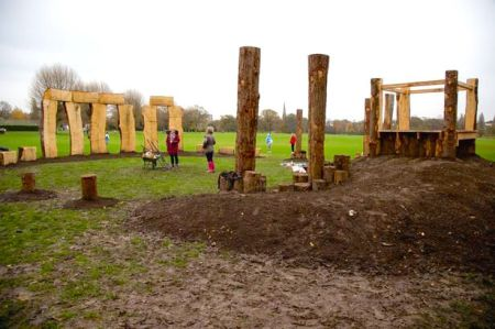 wooden henge in Liverpool's Princes Park