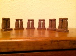 Stonehenge of chocolate trilithons by @SchPrehistory on Twitter